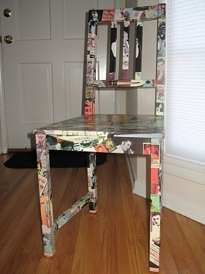 Ikea chair covered with comics or pictures. I love the Elvis idea. Or pinup girls would be awesome too. DIY