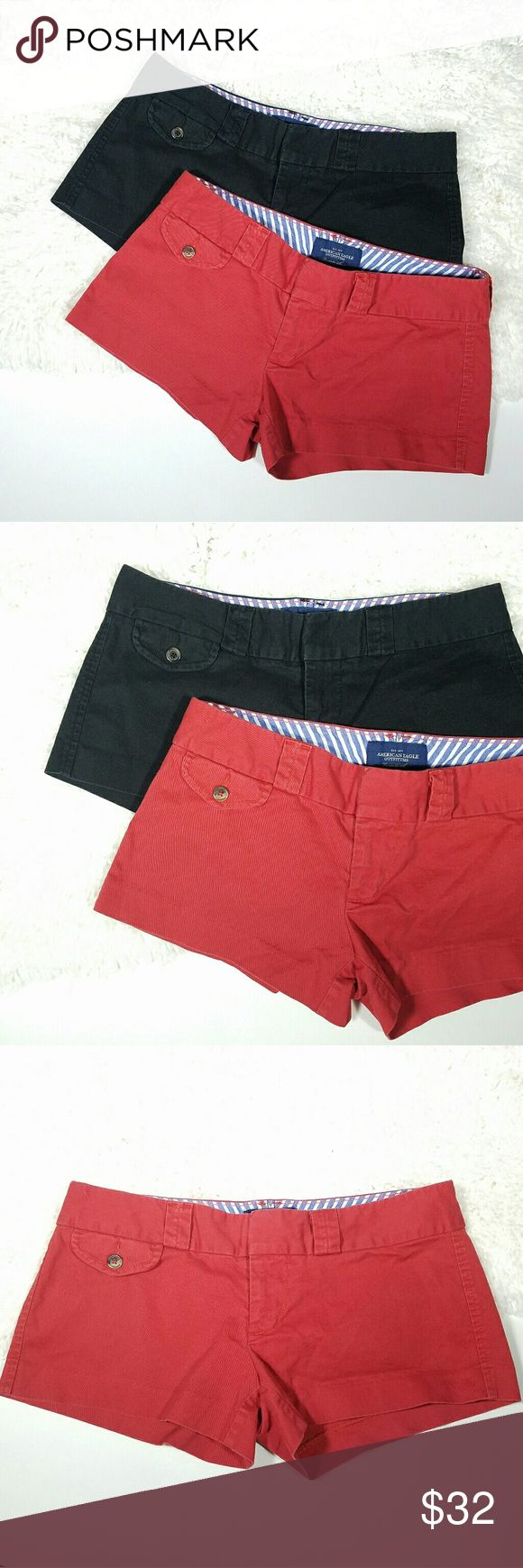 """American Eagle Favorite Shorts Khakis Bundle Bundle of 2 American Eagle Favorite Shorts. Size 0. Soft and comfy, Khakis in black and red. Some stretch for comfort. Retailed for  $39.95 each. Perfect staples for summer!  🌿Both shorts are Size 0.  🌿Waist 14.5""""   Rise 6""""   Inch Seam 2.25"""".  🌿Pre-owned condition with signs of fading from usual wash and wear.  🌿REASONABLE OFFERS Welcome. No Trades. American Eagle Outfitters Shorts"""