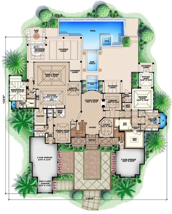 Colonial Style House Plan 5 Beds 5 5 Baths 13601 Sq Ft Plan 27 464 Mediterranean Style House Plans Mediterranean House Plan Luxury House Plans