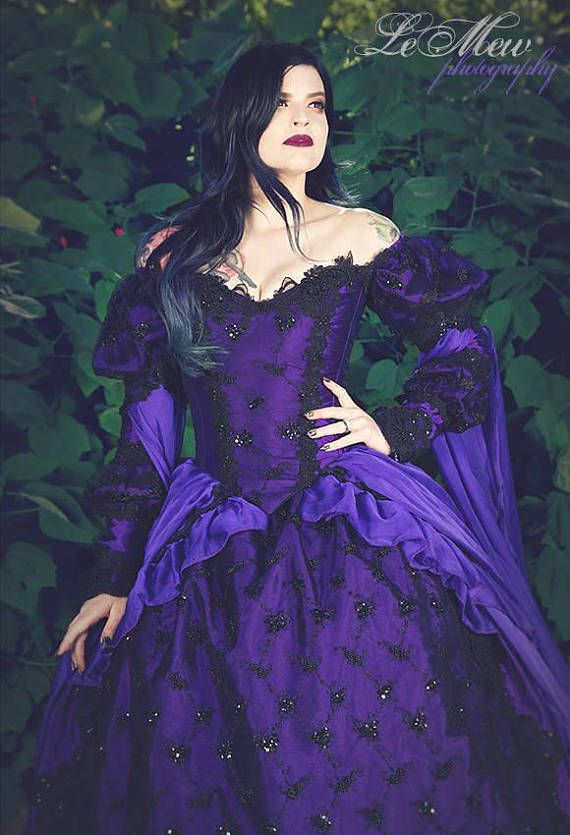 In Stock! Gothic Halloween Wedding Gown Sleeping Beauty Purple and Black Sparkle Fantasy Gown size Small/Medium
