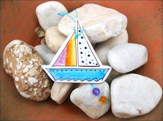 Sailing boat ceramic wall decoration