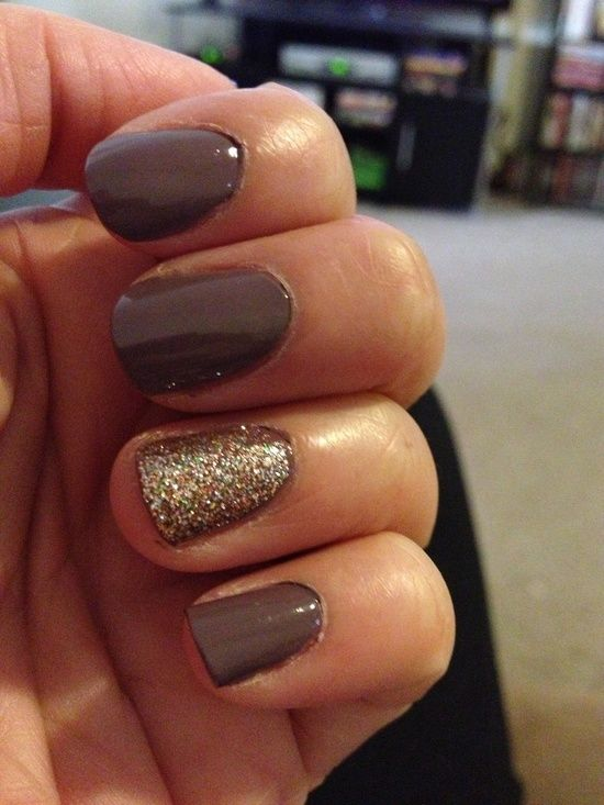 LOVE this fall nail color...if doing with an accent nail, either beige or more of a gold (less rainbow-y) glitter.