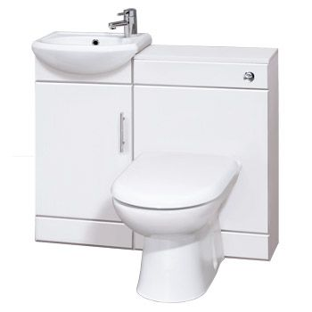 Sienna W920 x D200mm High Gloss White Vanity Unit Cloakroom Suite with D-shaped pan