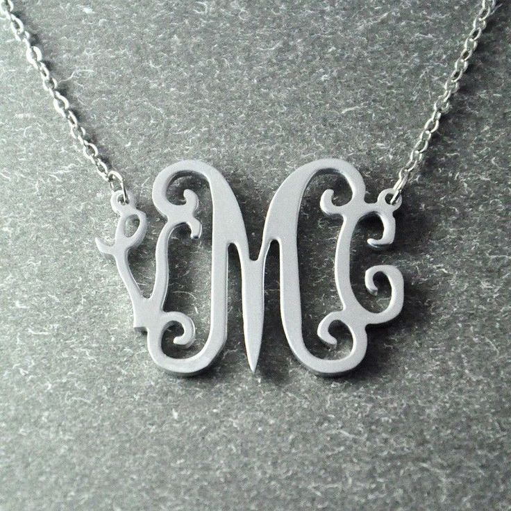 custom monogram necklace personalized initials necklace custom Christmas gift #Handmade #Pendant