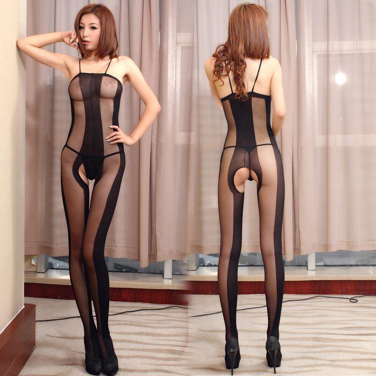 2017 Wanita Sexy Intim Bodysuit Tali Spaghetti Terbuka Selangkangan Bodystocking Sheer Sexy Lingerie Ultrathin 20 Denier Stripe Potong