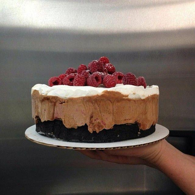 Dark chocolate cake with Milk Chocolate and Raspberry Jam ice cream ...