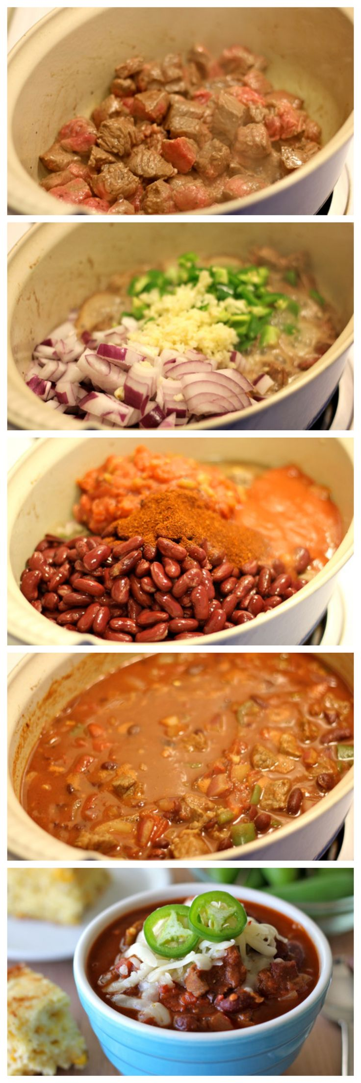 Steak Chili - Comfort in a bowl with the most tender chunks of meat! A must for Game Day!