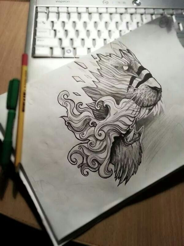 Leg lion tattoo project