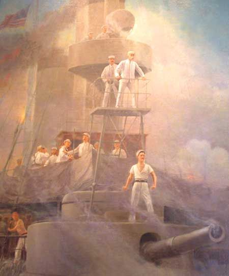 Battle of Manila Bay, 1 May 1898 Commodore George Dewey directing the battle from on board USS Olympia. Painting by R.F. Zogbaum, 1899