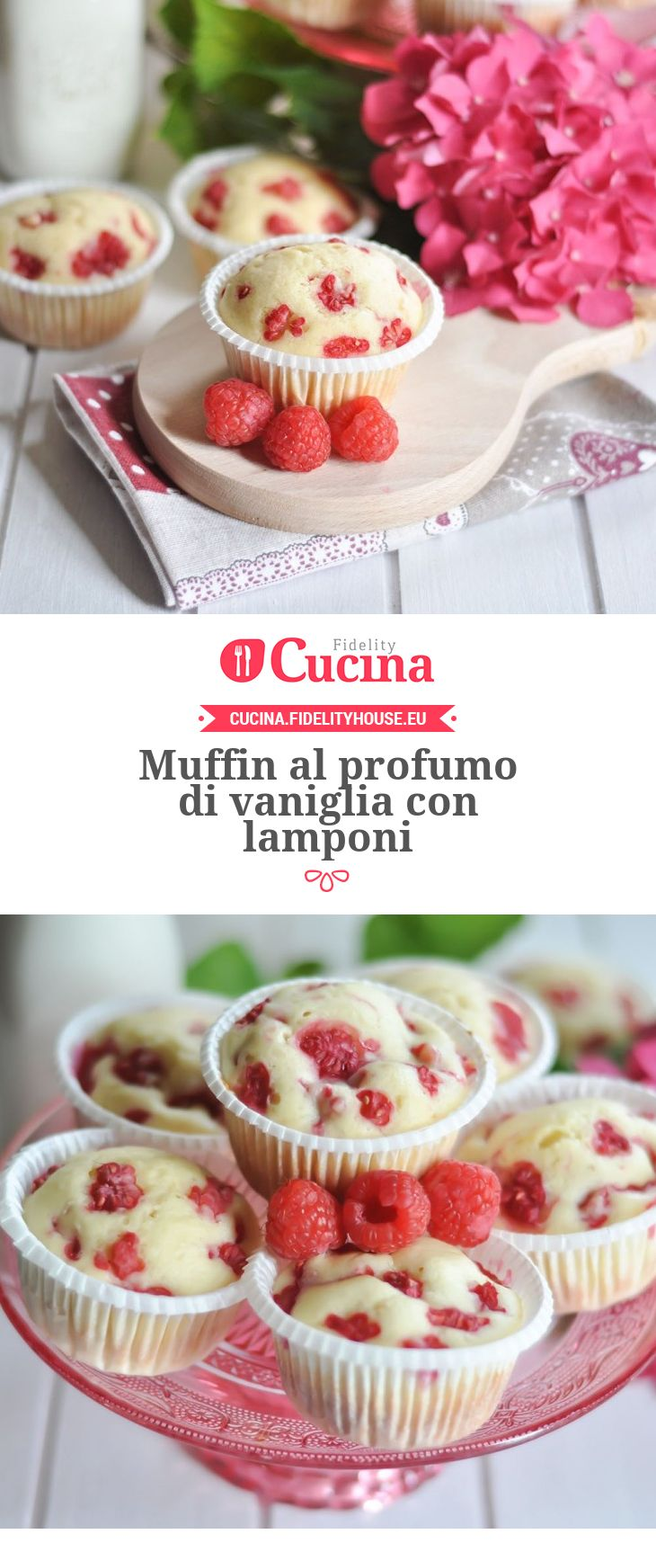 Muffin al profumo di vaniglia con lamponi