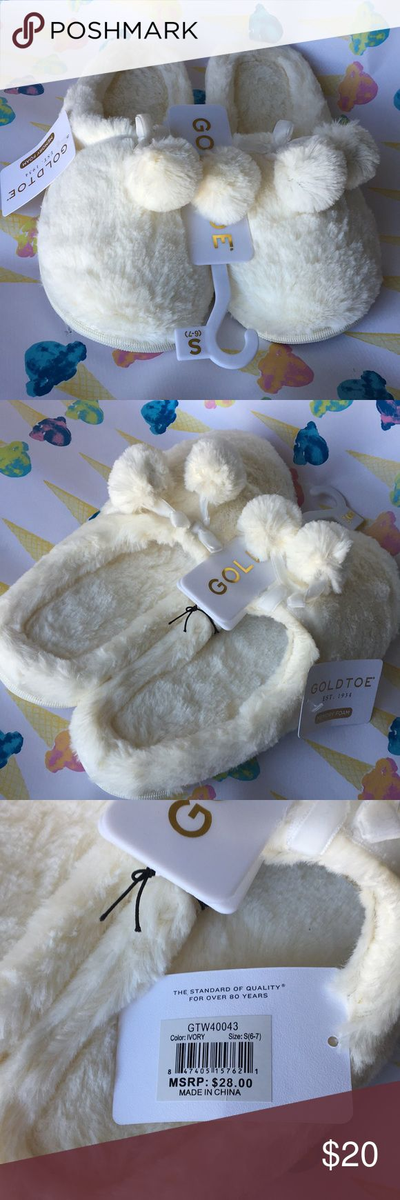 🍦Gold Toe NWT cream puff pompom slippers S,M,XL🍦 These are truly the perfect slippers. Gold Toe brand memory foam, Ivory-colored faux fur with Pompoms. Where's my coffee and French toast? Small (6-7) Medium (8) Large (10-11)  All man-made materials. 💛 these. Gold Toe Shoes Slippers