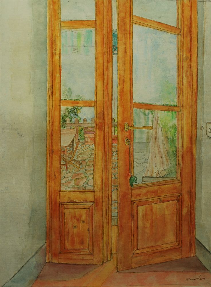 title: The window of my room in Marcialla, (toscany)  watercolor / acquarelle  height: 60 cm   width:  45 cm  made by Enrico Napoletano  in Florence (Italy); photo by EN unique piece