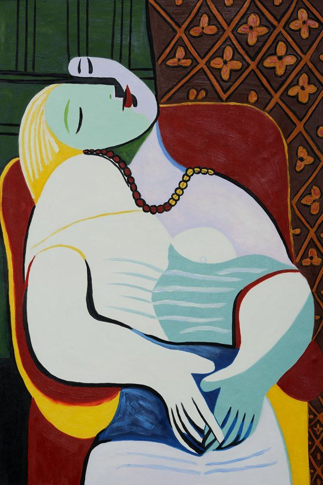 """The Dream"" by Pablo Picasso created in 1932 A Example for the art call: ""Dreams"" Juried Competition For A Group Exhibition. Deadline For Entries: April 13, 2015. http://art-competition.net/Dreams_Group_Exhibition_G25N.cfm"