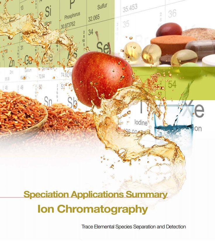Speciation Applications Summary Ion Chromatography notebook on applications combining IC-ICP-MS for separating and quantifying chemical forms of arsenic, mercury, iodide, chromium, and mercury in food, food products, water, and nutraceuticals.