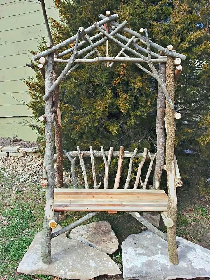 Rustic stick bench Arbor by Woodzy.