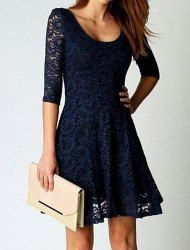 Stylish Scoop Collar 3/4 Sleeve Solid Color Lace Dress For Women (BLUE,M)   Sammydress.com Mobile