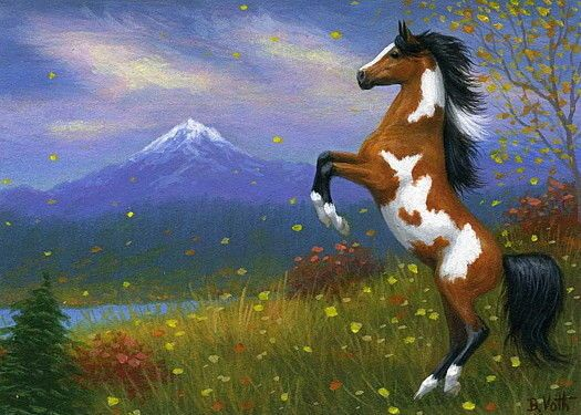 Paint pinto horse mountains autumn fall leaves limited edition aceo print art | Art, Direct from the Artist, Prints | eBay!