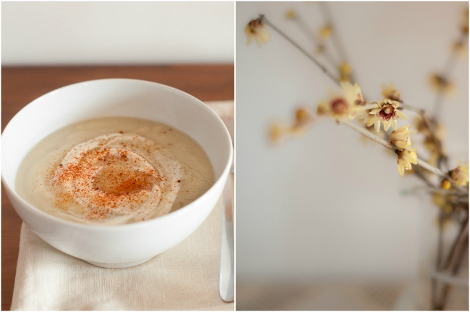 beautiful sunchoke soup with paprika and sour cream