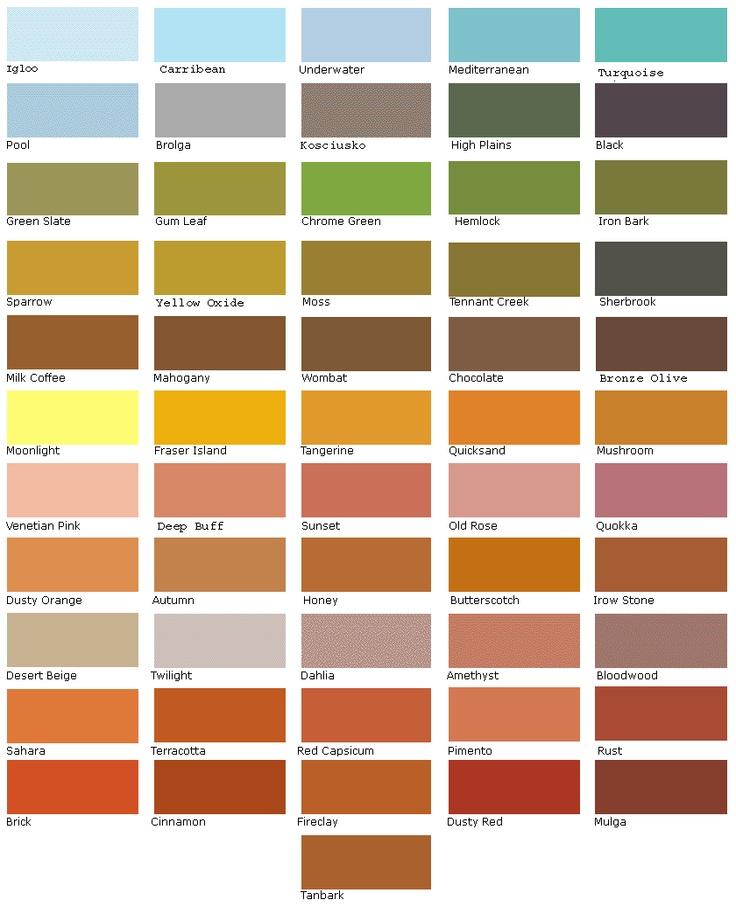 Bush colour chart