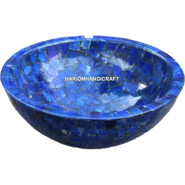 "14"" Marble Lapis Lazuli Garden Decor Inlaid Creative Stone Interior Arts H4984A #HariomHandicraftExport #MarbleWashBasin #InlaidDesign #LapisLazuliStone #RoundWashBasin #WashBasin #BeautifulWashBasin #DesignerWashBasin"