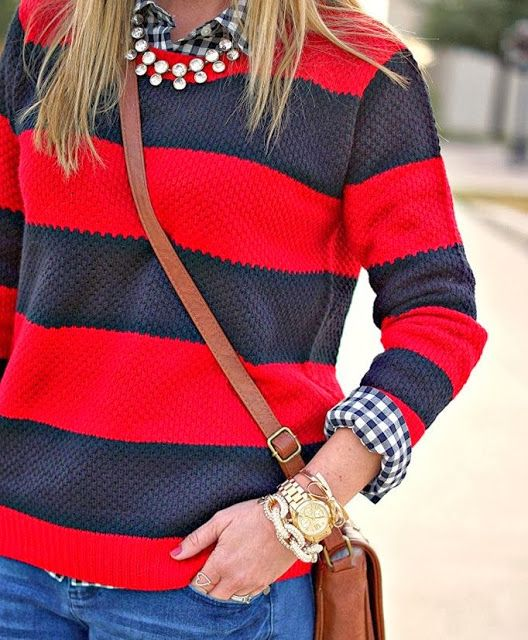 Stripes Sweater With Brown Handbag and Wrist Watch