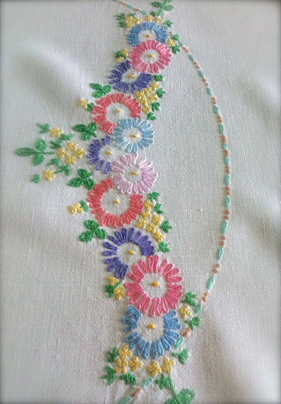 Hand embroidered floral vintage linen by gardenofcrinoline