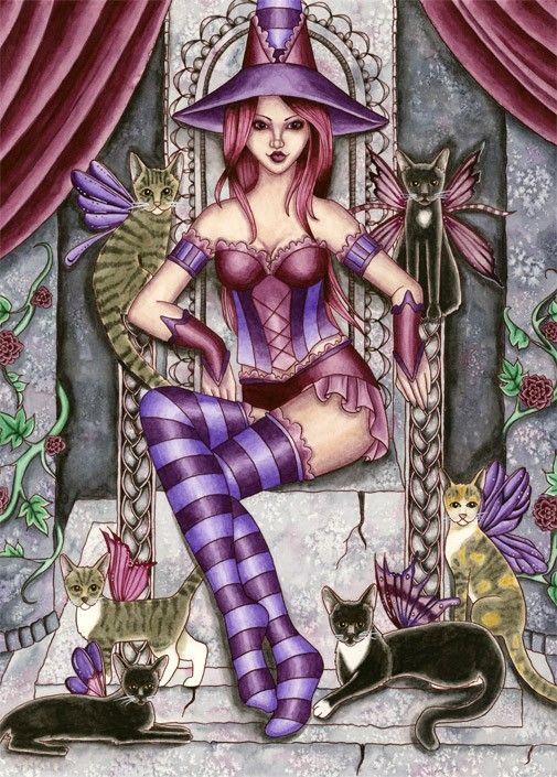 Gothic Witch Print Fantasy Art 5x7 Throne Rose Cat by aurella27