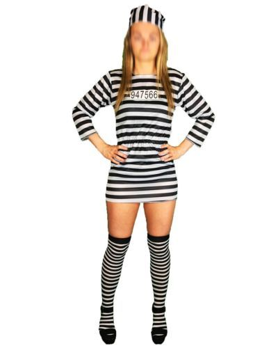 LADIES-CONVICT-PRISONER-COSTUME-HALLOWEEN-FANCY-DRESS-OUTFIT-SEXY-BLACK-amp-WHITE