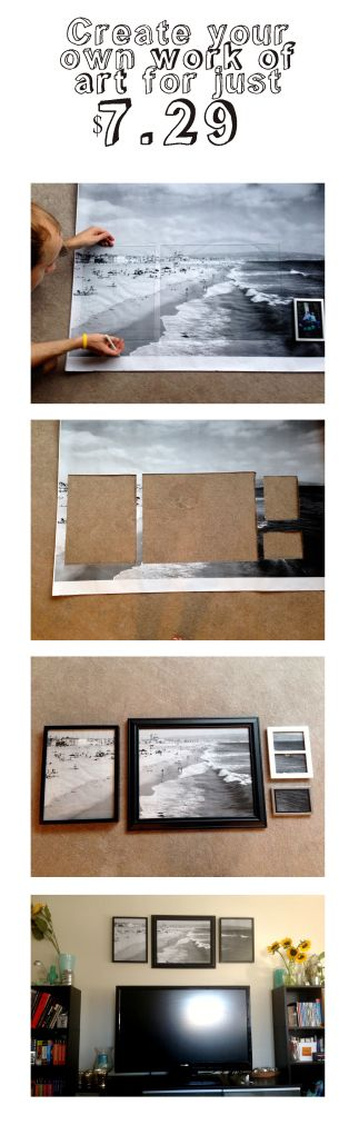 """office depot or staples super large print of a favorite photo...then lay out the glass of a collection of frames and cut to size...place in the frames and """"ta da"""" a grouping of coordinating pictures from your own collection!"""