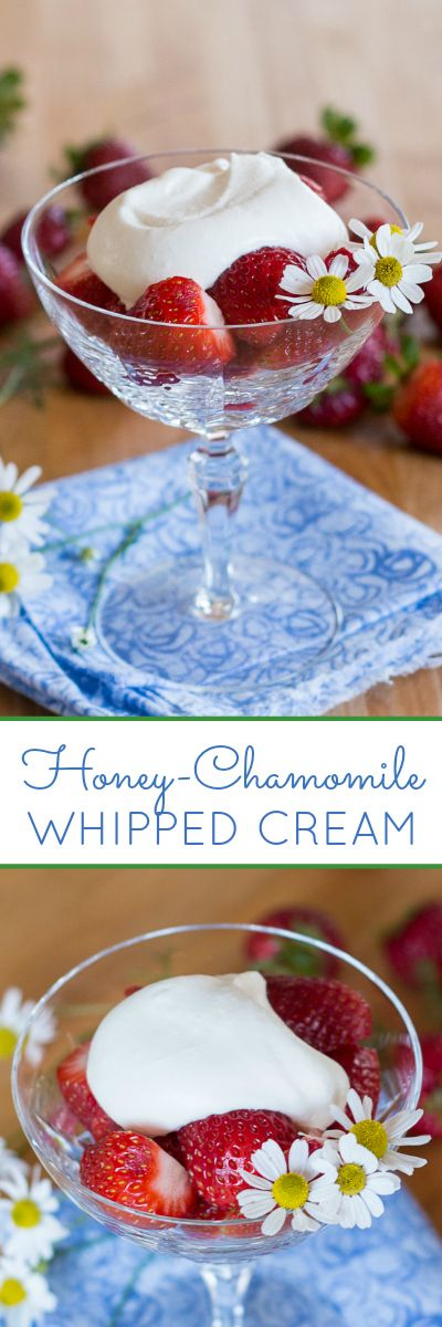 With a delicately sweet herbal flavor, this easy-to-prepare Honey-Chamomile Whipped Cream tastes spectacular atop just about any kind of summer fruit. A perfect summer topping recipe.