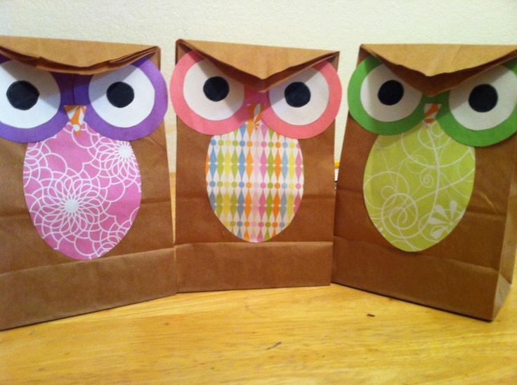 Diy Owl Goodie Bag Party Props Pinterest Bags