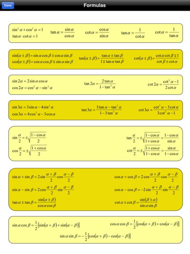 TRiG: formulas & identities sheet