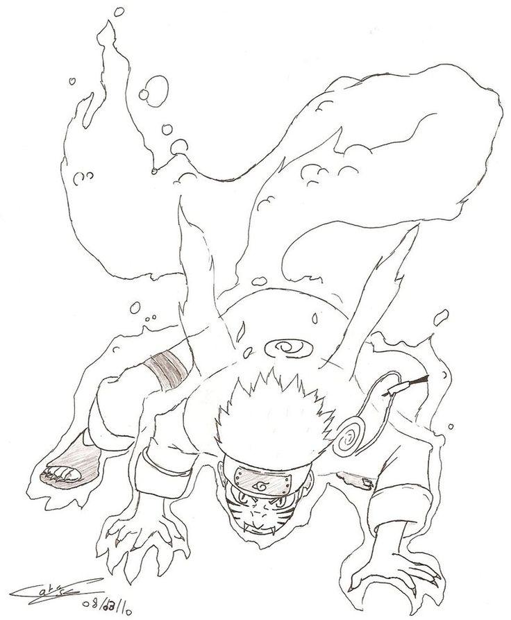 Рисунки карандашом аниме наруто хвостатые
