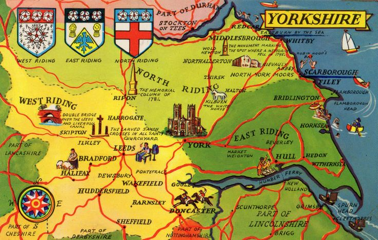 Yorkshire Postcard ca 1968 - West, North and East Ridings map