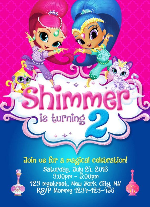 Shimmer And Shine Invitation Shimmer Shine Party Shimmer And Shine Shimmer And S Birthday Invitations Kids Shimmer N Shine Birthday Party Invitations Free
