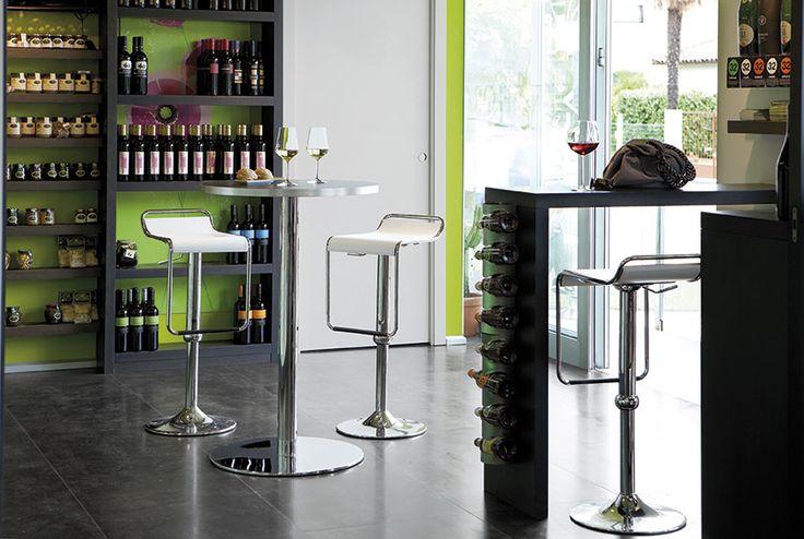 Sgabello CECCHETTO modello Superstar base metallo sedile legno