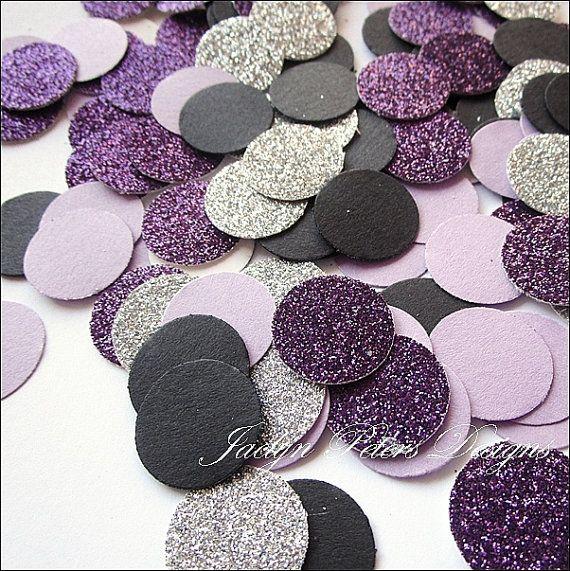Confettis party paillettes violet, argent, lavande et noir est parfait pour les disperser et décorez votre mariage nuptiales de douche tables