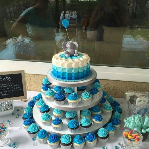 Elephant baby shower cupcakes and cake