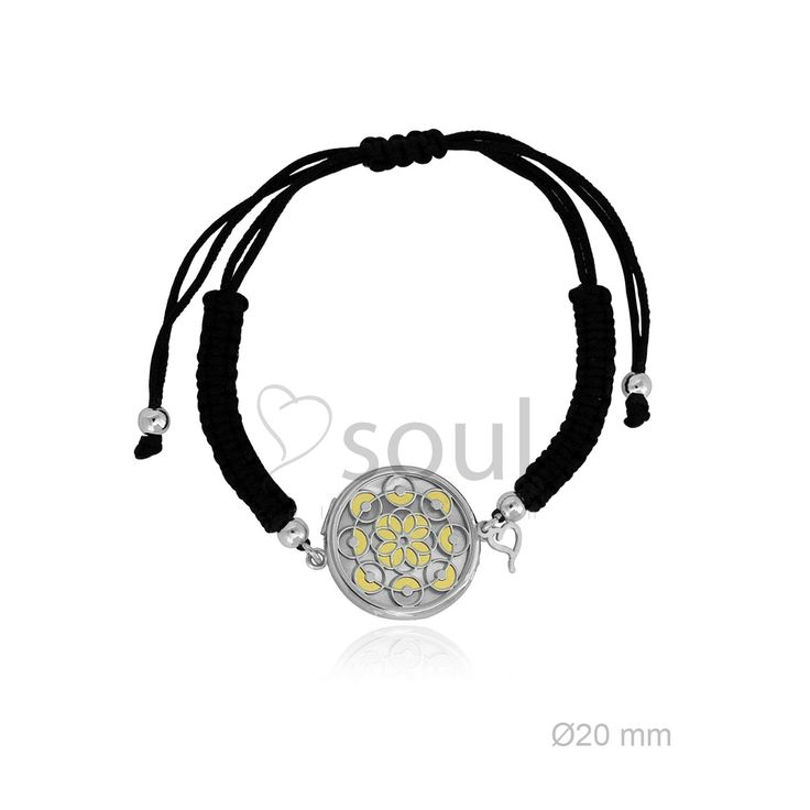 REF. 364002. Pulsera Mandala. Pulsera de macramé con motivo en nácar u ónix en plata de Ley.