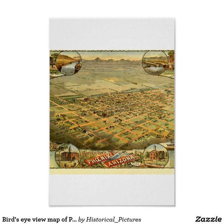 Bird's eye view map of Phoenix, Arizona in 1885 Poster