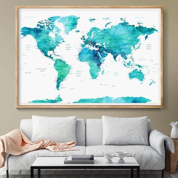 66 best large world map art images on pinterest extra large wall personalized push pin world map poster world map watercolor blue mint countries world map gumiabroncs Images