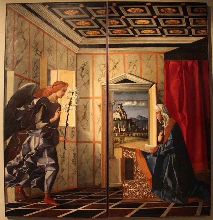 Angel of the Annunciation and Virgin Annunciate by Giovanni Bellini in the Gallerie dell'Accademia (Venice).