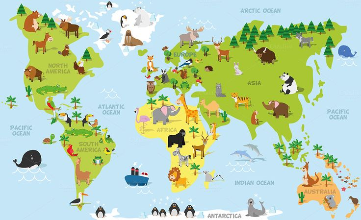 Funny cartoon world map with traditional animals of all the continents and oceans, and decorated with differents trees and a boat. 55 different animals of all around the world. Vector