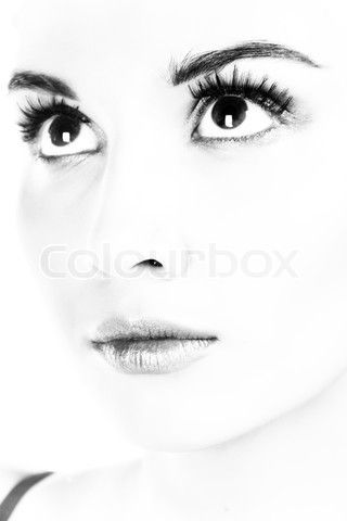 Image of 'Lady portrait. B&W photography. Isolated on white.' on Colourbox