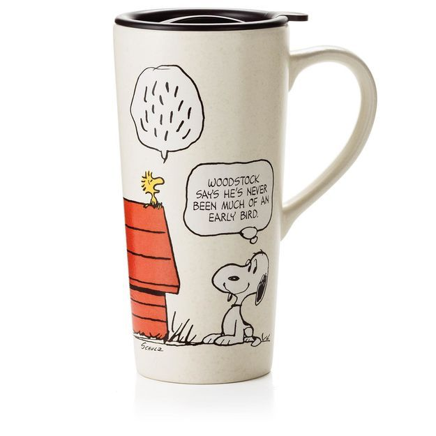 Snoopy and Woodstock Early Bird Travel Mug