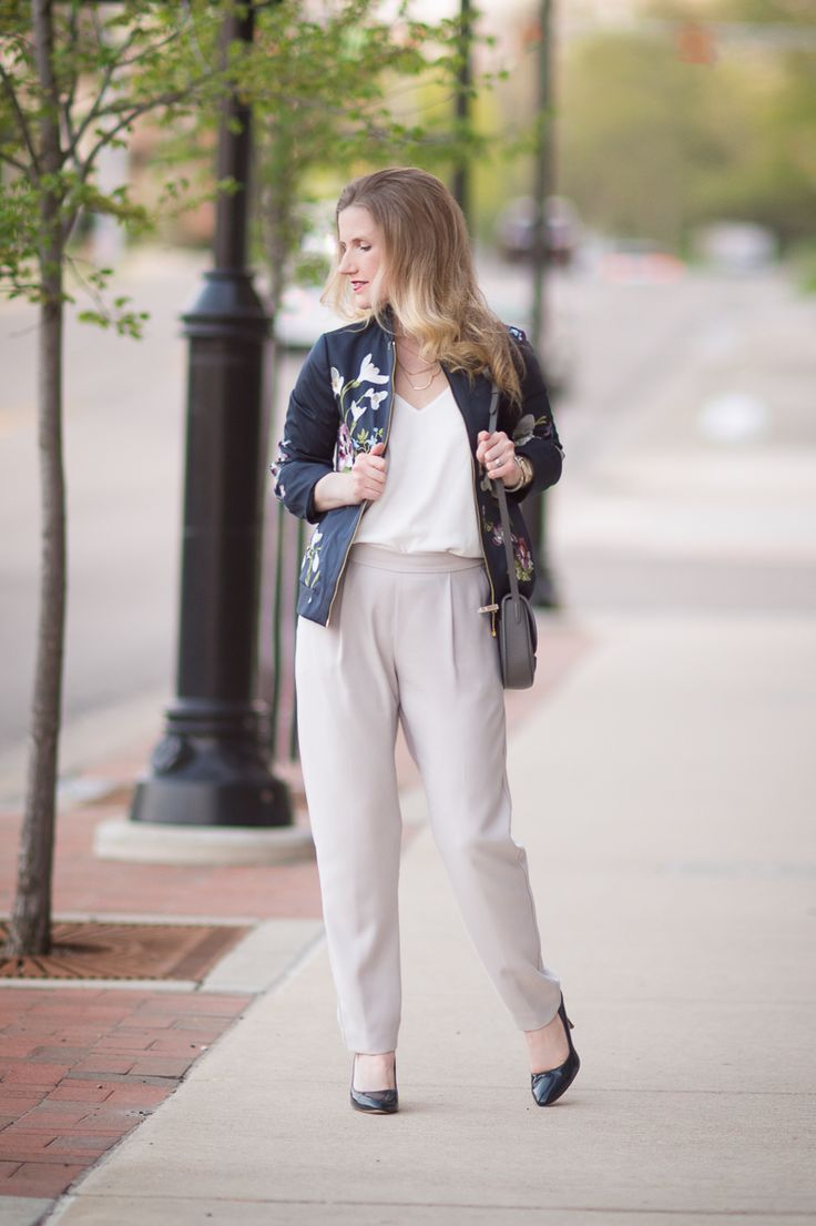 Petite Fashion and Style Blog | Ted Baker Entangled Enchantment Embroidered Bomber Jacket | Wallis Tapered Crepe Trousers | Click to Read More...