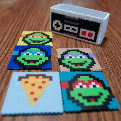 DIY Nintendo and Ninja Turtle 8-bit drink Coasters