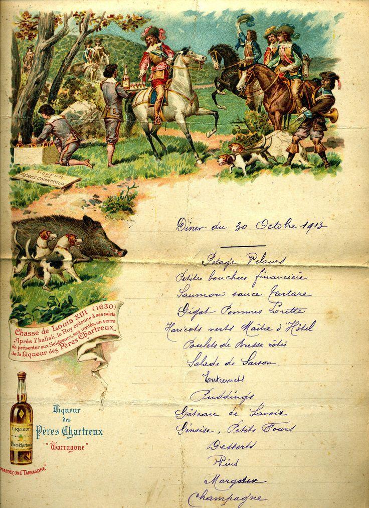 Beau menu ancien liqueur #chartreuse (1913) thème : Louis XIII et scène de chasse