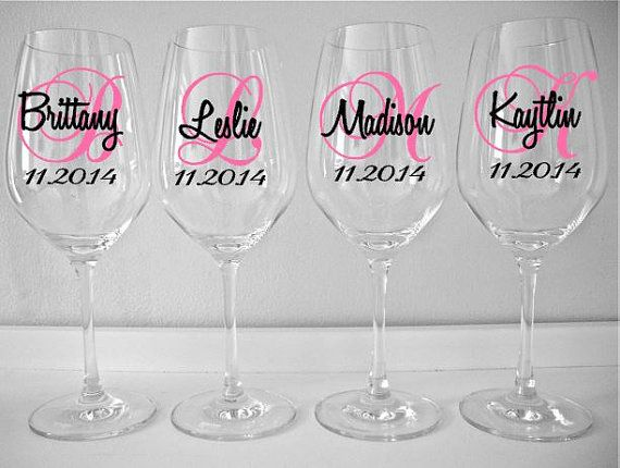 SINGLE DIY Wine Glass Decal Monogram With Name And Date, Bridal Party Wine Glass Decals, Glasses NOT Included