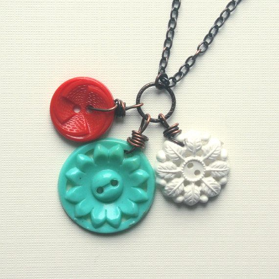 So Charming, Red White and Blue Vintage Button Charm Necklace